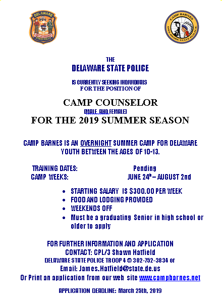 Delaware State Police Camp Barnes Counselor Applications