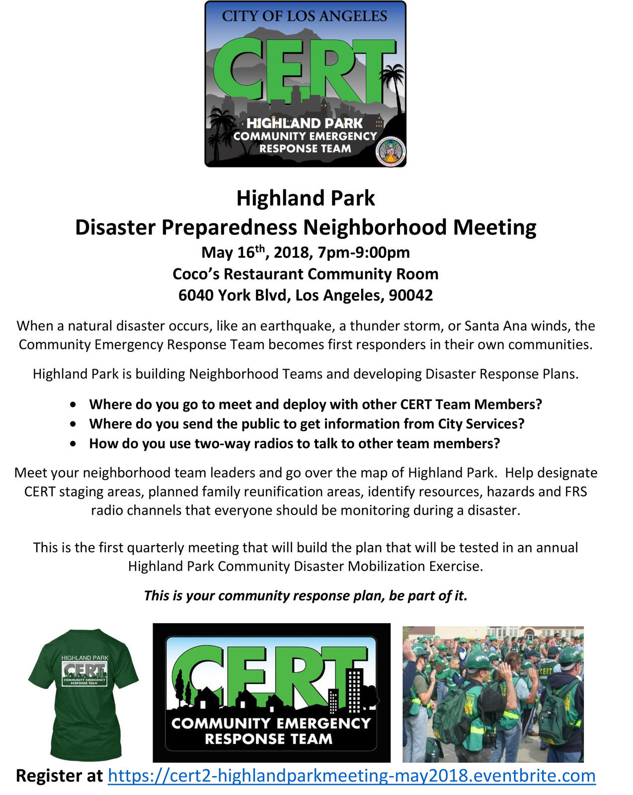 Highland Park Disaster Preparedness Meeting - Wed, May 16th