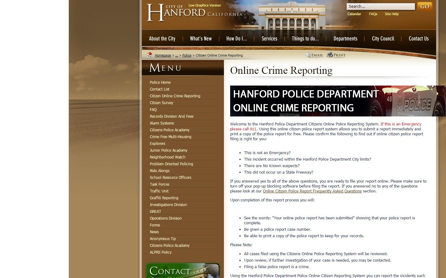 Online Police Reports (Hanford Police Department) &mdash