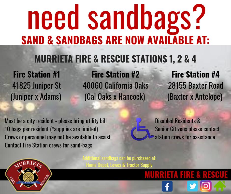 Murrieta Fire & Rescue has sandbags available! (City of Murrieta