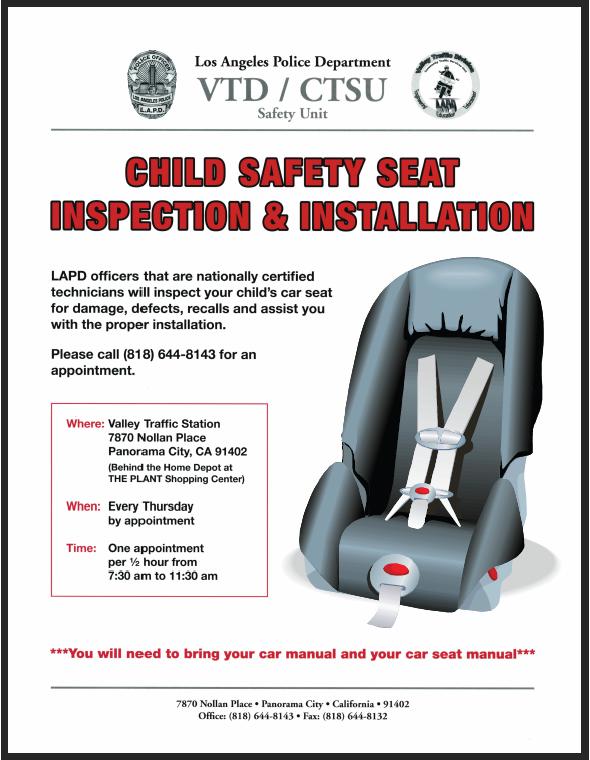 Child Safety Seat Inspections Installations Los Angeles Police Department Mdash Nextdoor Nextdoor