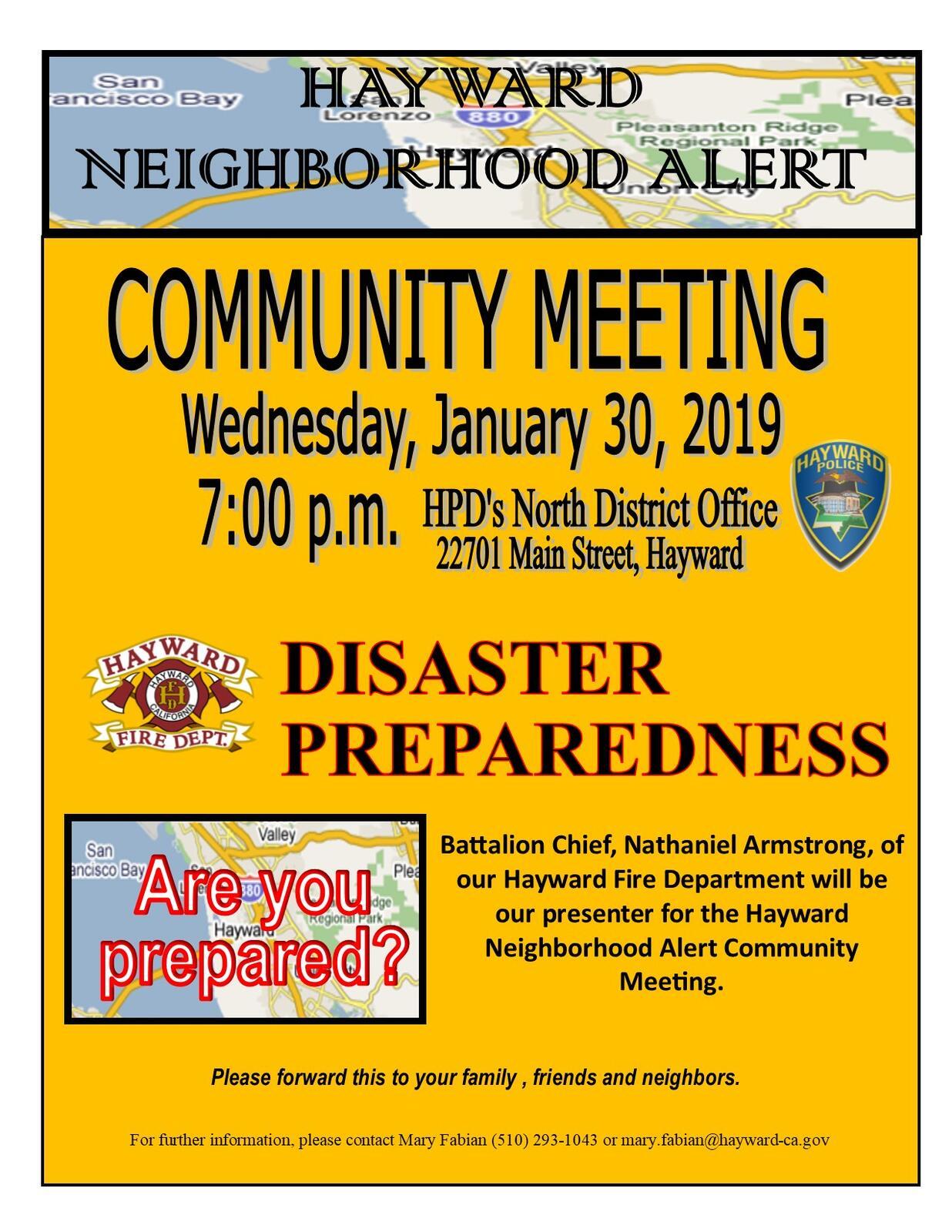 HAYWARD NEIGHBORHOOD ALERT - Community Meeting - January