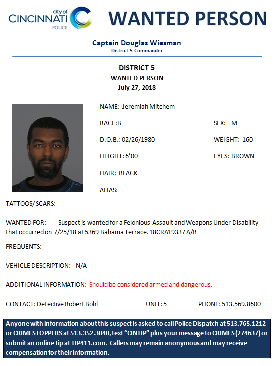 Wanted Suspect (Cincinnati Police Department) &mdash