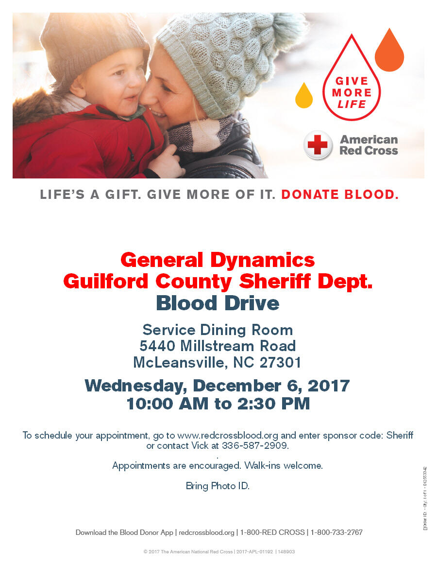 Sheriffs Office Blood Drive 12 6 17 Guilford County