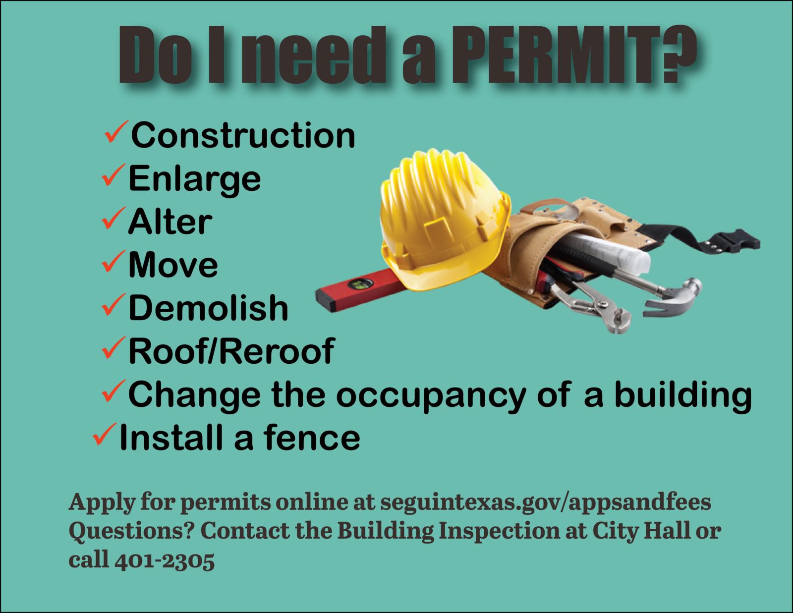 Do I need a building permit? (City of Seguin) &mdash