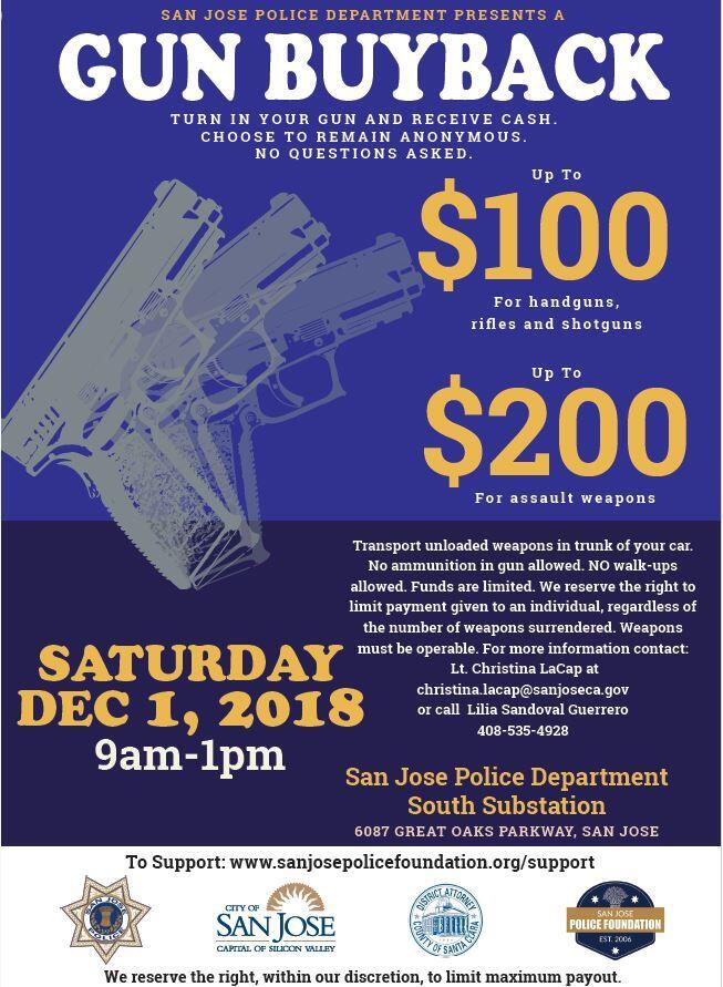Gun Buy Back at SJPD South Substation: Sat  12/1 (San José