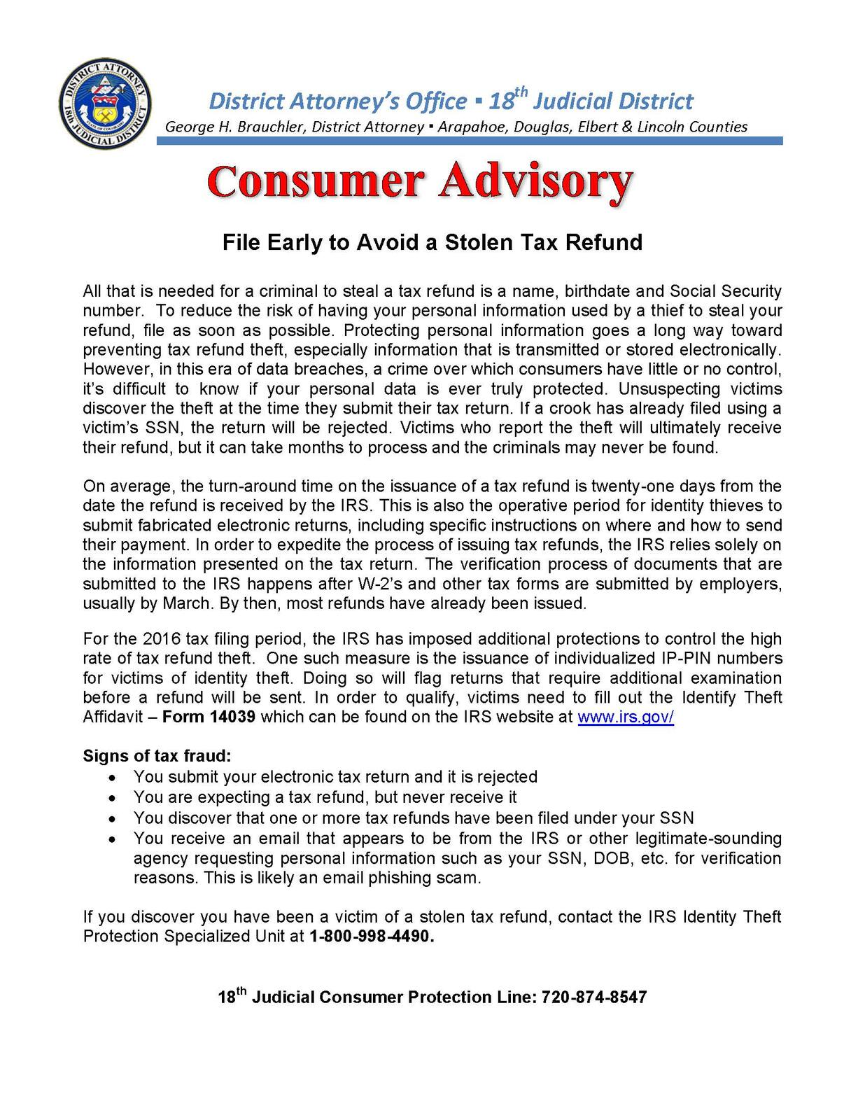Consumer Advisory- File Early to Avoid a Stolen Tax Refund