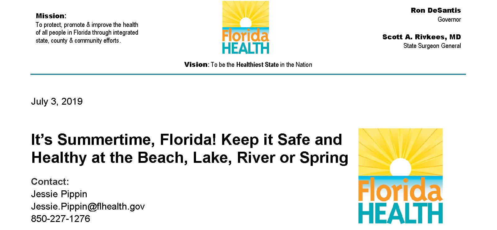 Message from the Florida Department of Health of Gulf County (Gulf