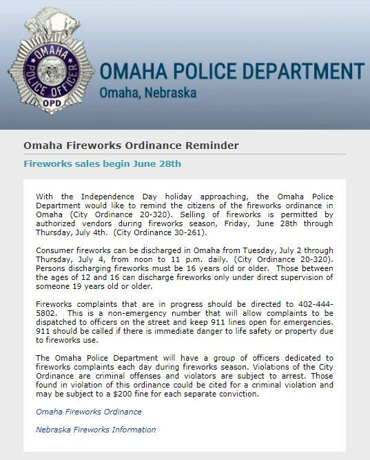 Omaha Fireworks Ordinance Reminder (Omaha Police Department