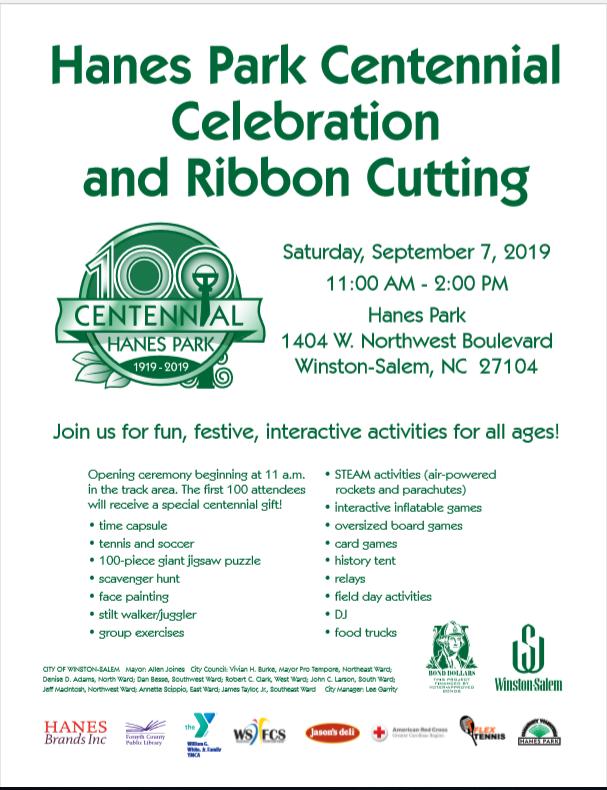 Hanes Park Ribbon Cutting & Centennial Celebration (City of