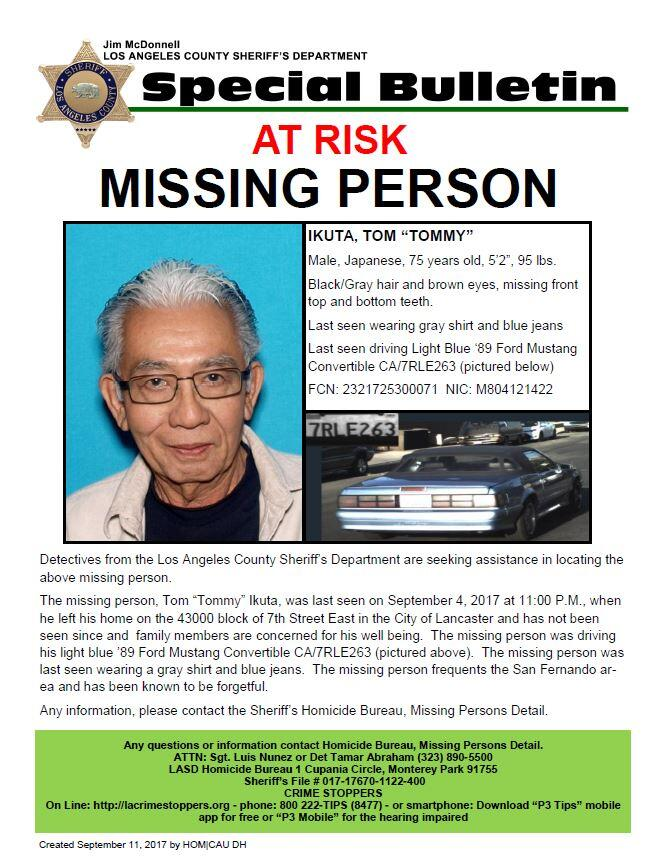 **Missing Person U2013 At Risk** (Los Angeles County Sheriff) | Nextdoor  Missing Person Flyer
