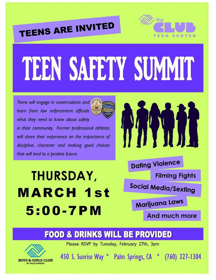 Teen Safety Summit Palm Springs Police Department Nextdoor