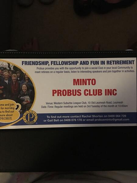 20 Nov  2018 · Minto Probus Club first meeting — Nextdoor
