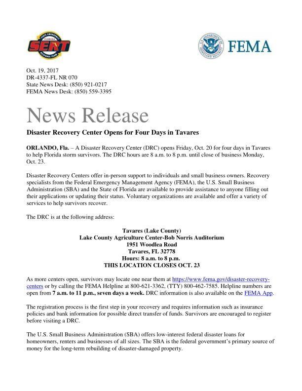 News Release: Disaster Recovery Center Opens for Four Days