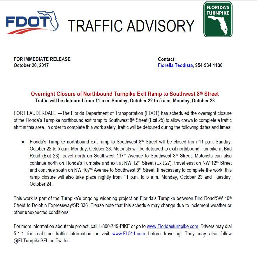 Overnight Closure of Northbound Turnpike Exit Ramp to