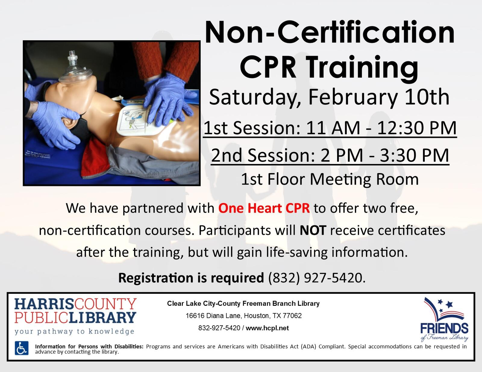 Free non certification cpr course at freeman harris county public free non certification cpr course at freeman harris county public libraries nextdoor xflitez Choice Image
