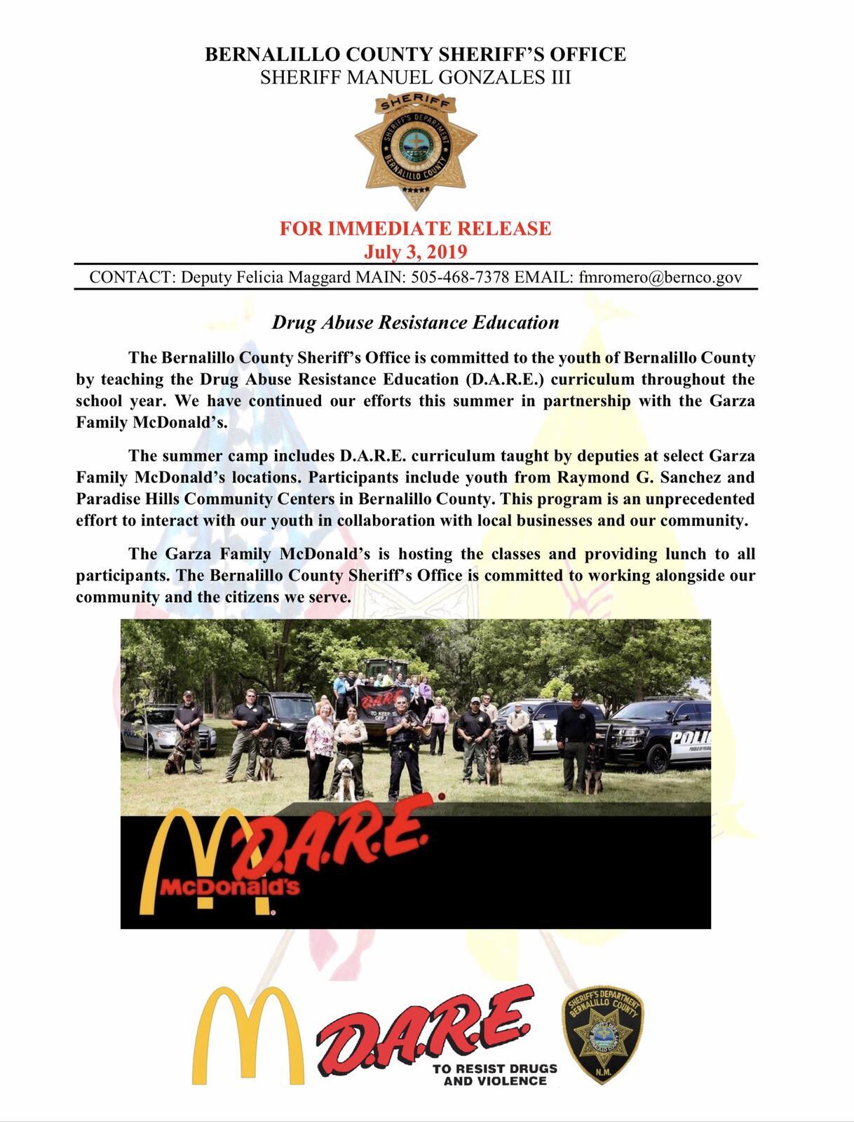 Bernalillo County Sheriffs Department Released — BCMA