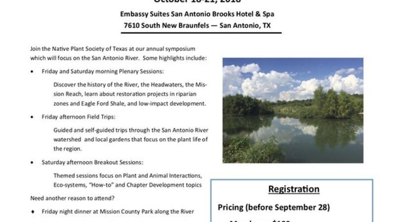 Oct 18 · Native Plant Society of Texas Annual Symposium