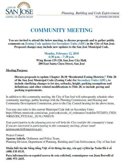Zoning Code updates for Secondary Units (ADU) Community Meeting at ...