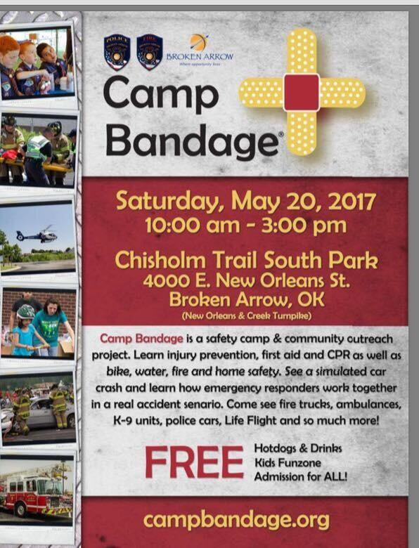 Broken Arrow Police and Camp Bandage give away arm bands for