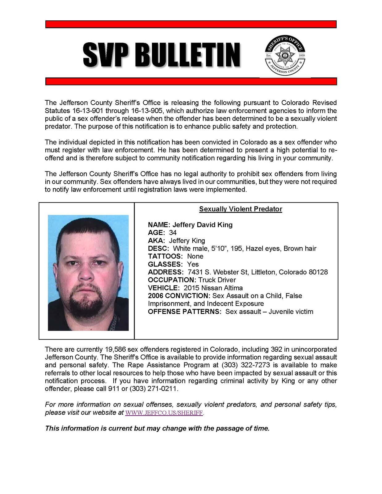 Notification of Sexually Violent Predator (Jefferson County