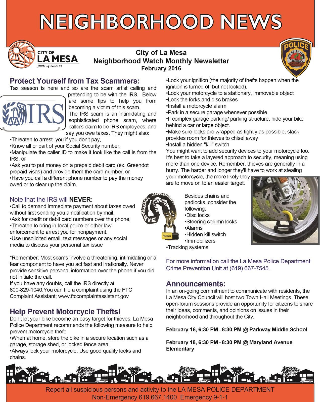 neighborhood watch newsletter la mesa police department nextdoor