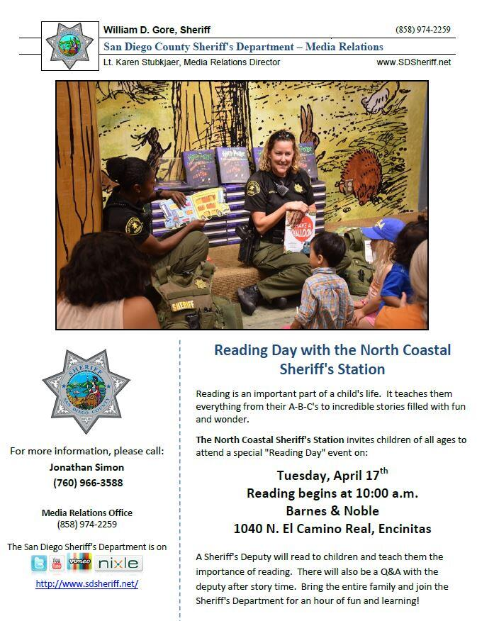 Sheriff S Reading Day Today Barnes Noble Encinitas San Diego