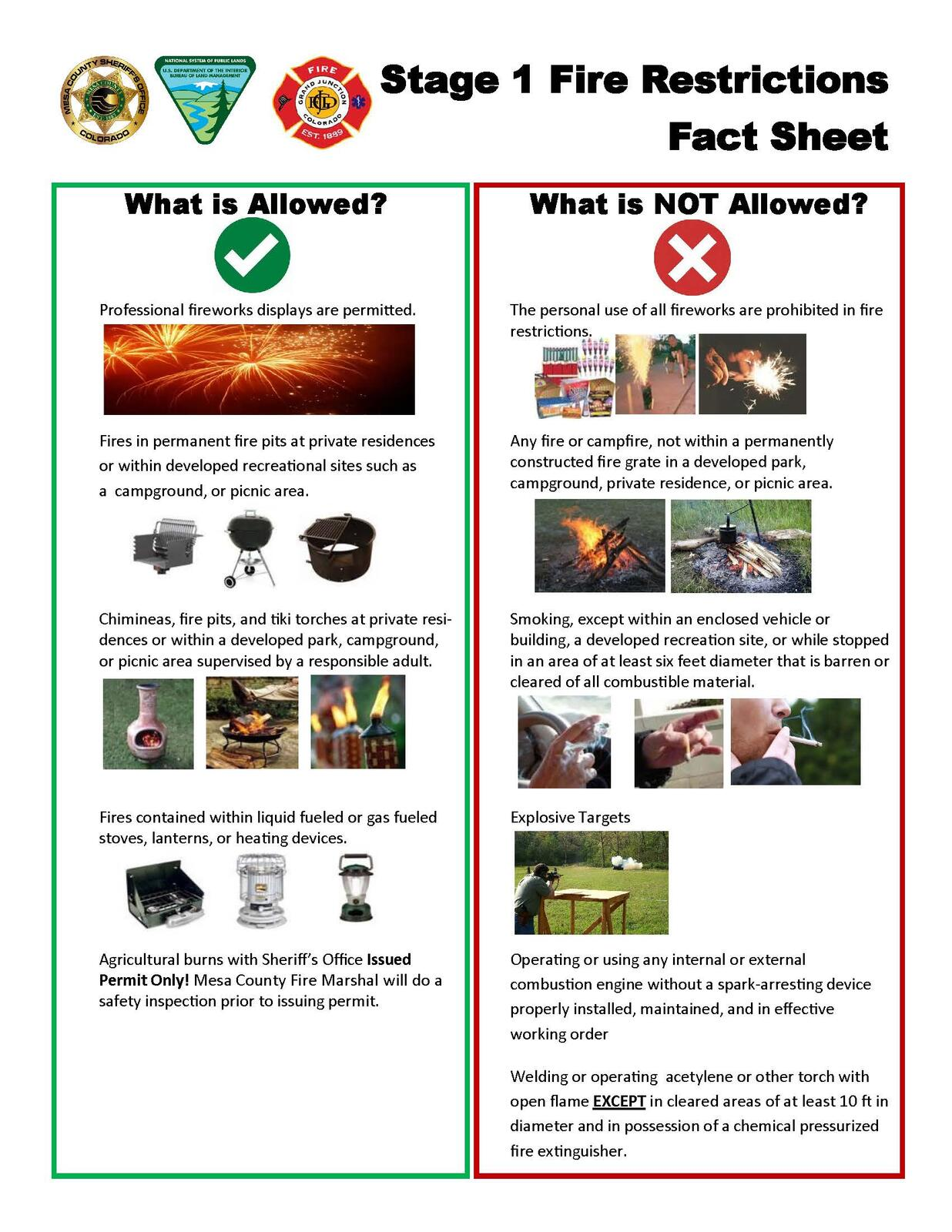 Stage 1 Fire Restrictions Now in Effect (Mesa County Sheriff's