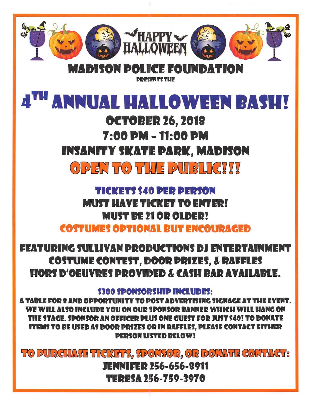 4th Annual Halloween Bash Friday, October 26th (Madison Police