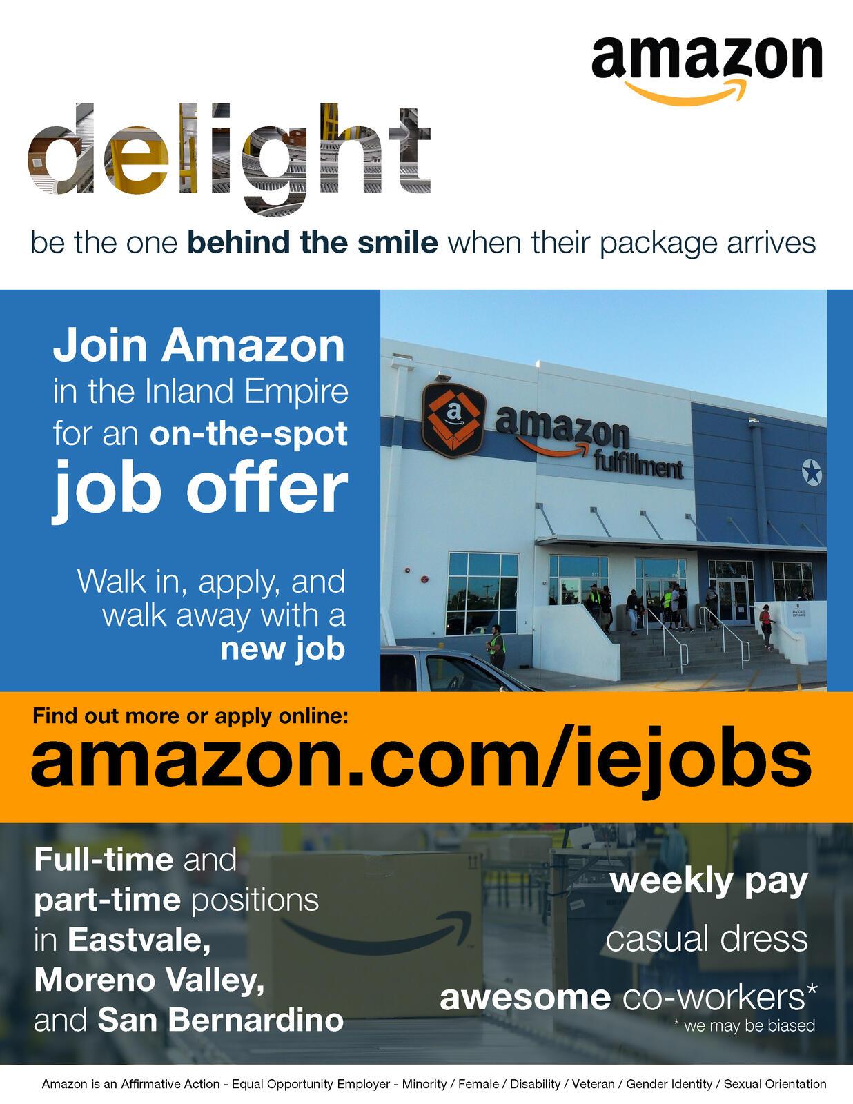Amazon Com Applicationhelp >> Moreno Valley To Host Amazon S Recruitment To Fill 10 000