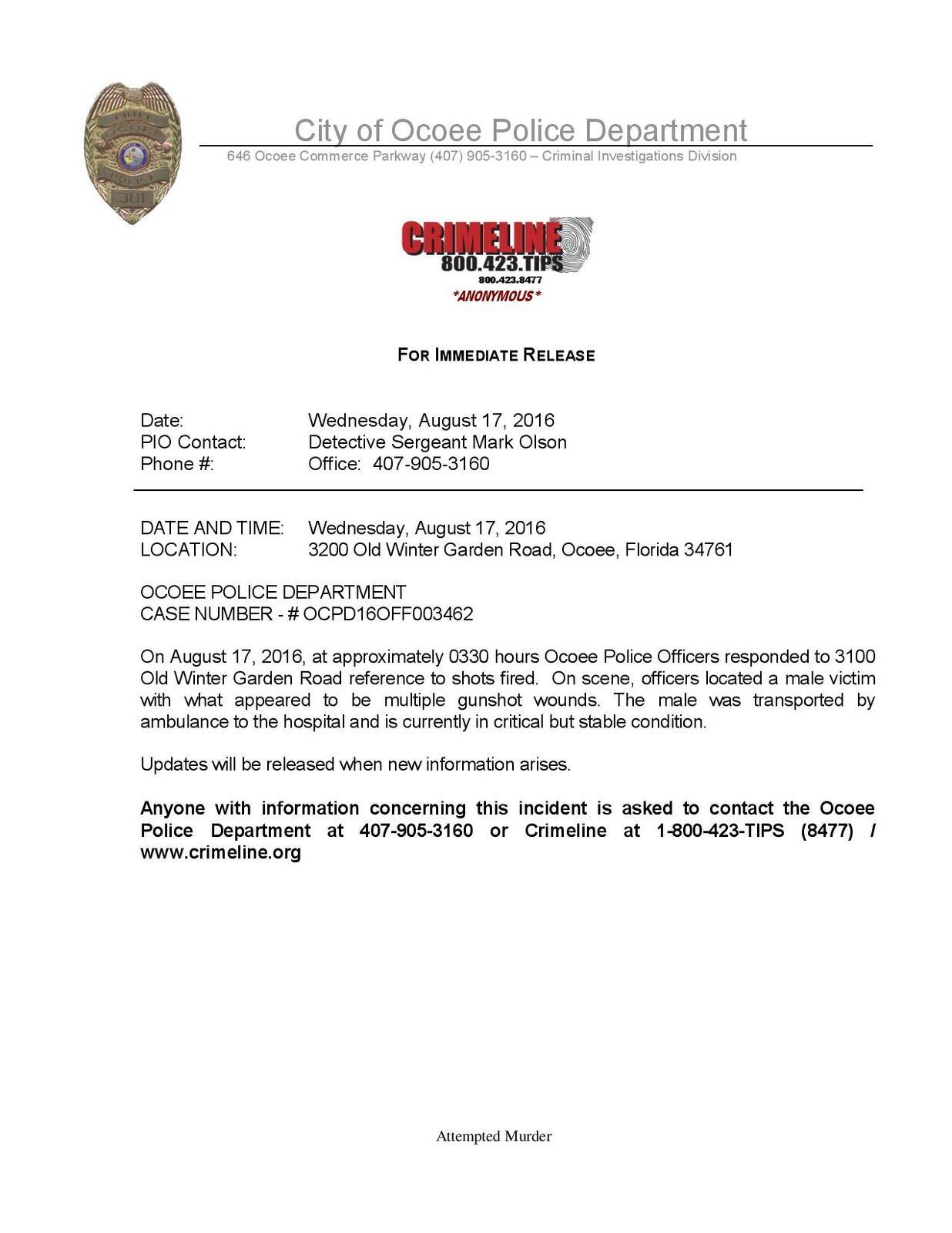 press release attempted murder ocoee police department nextdoor