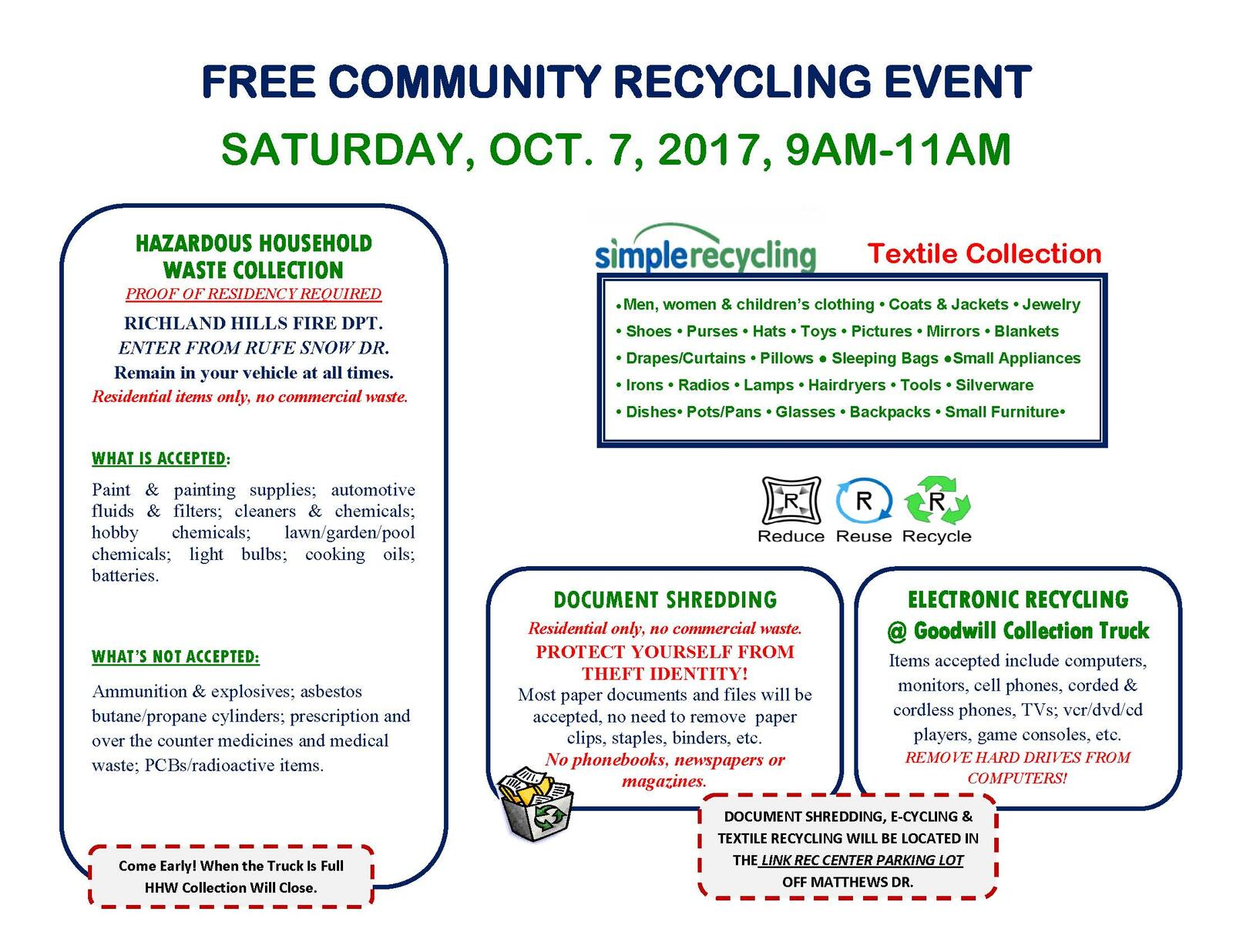 REMINDER: COMMUNITY RECYCLING EVENT THIS SAT , 10/7 9am-11am