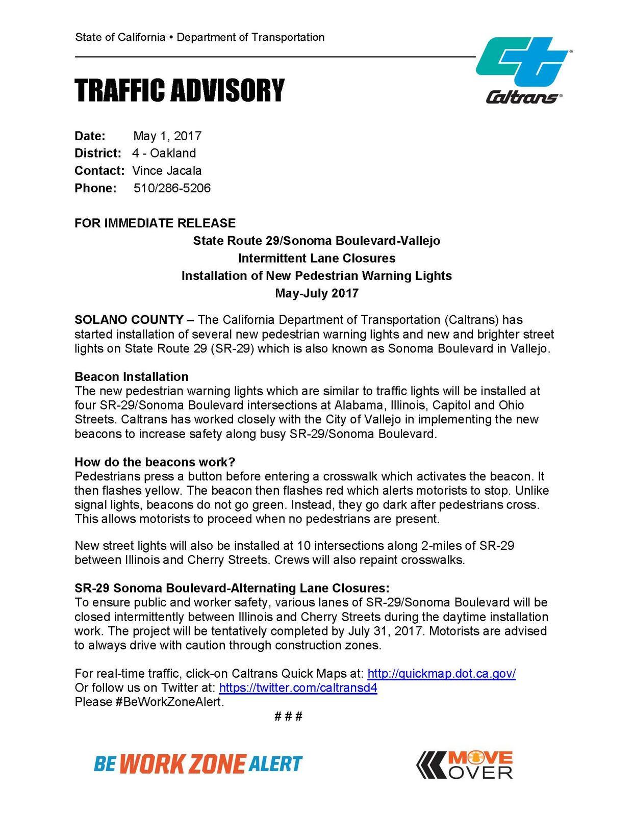 Caltrans Work on Somona Boulevard - Intermittent Lane Closures May on