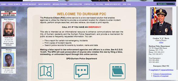 Durham Police Department Launches Police To Citizen P2c Site