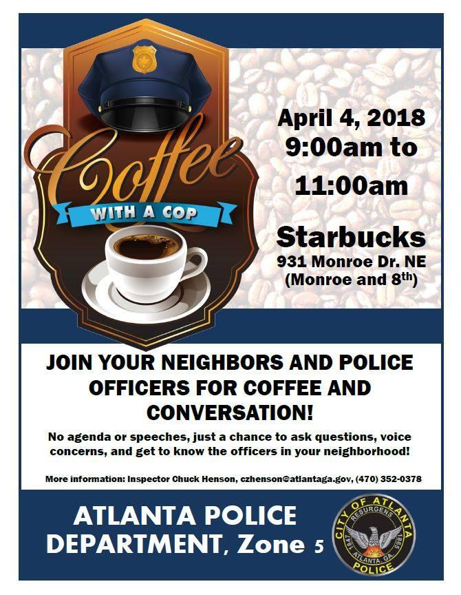 REMINDER: Zone 5 'Coffee with a Cop' is Wednesday, April 4