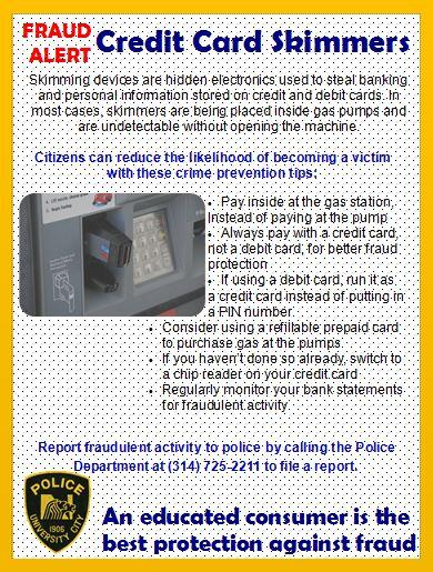 Fraud Alert Credit Card Skimmers University City Police Department Mdash Nextdoor Nextdoor