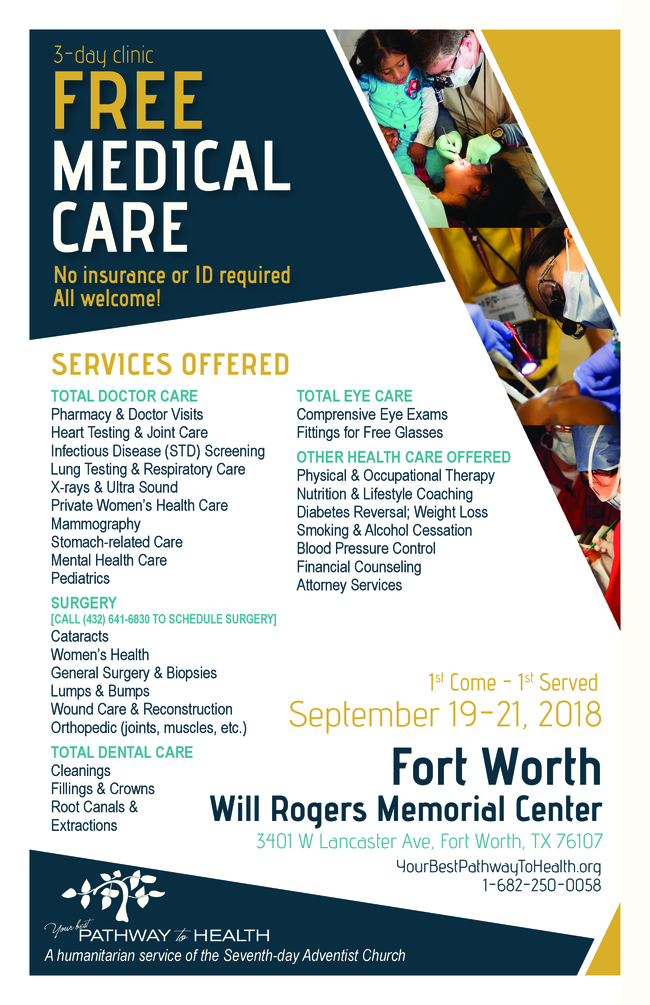 Pathway to Health: 3-Day Free Medical Care Clinic (Tarrant