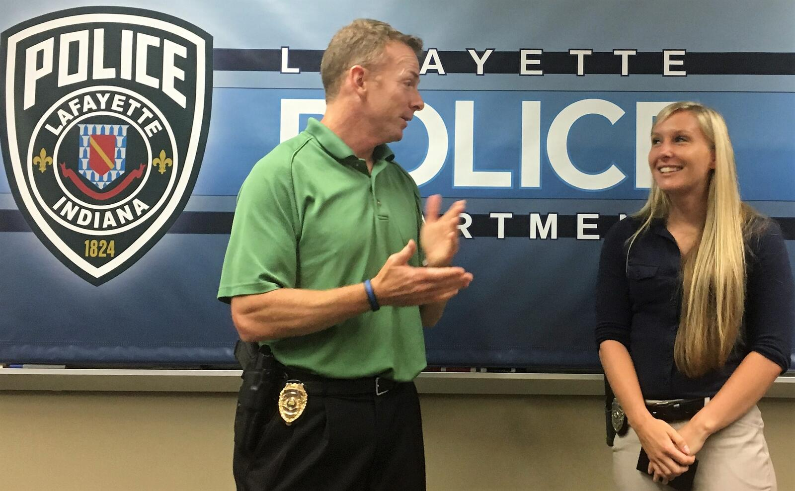 Chief Flannelly Presents Badge to Newest LPD Detective