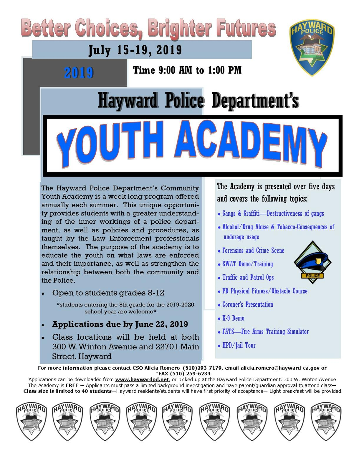 HPD's Youth Academy - SIgn Up Today! (Hayward Police