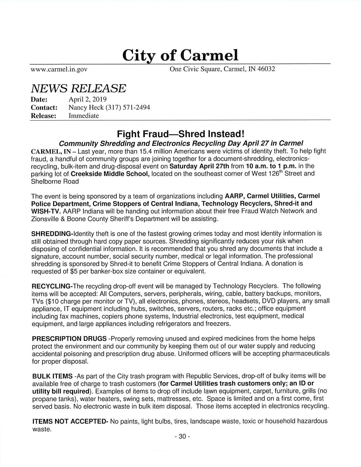 Shredding, Electronics Recycling, Bulk item Drop off (City of Carmel