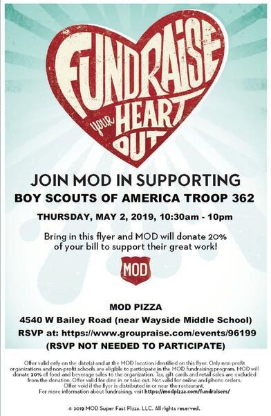 May 2 · MOD Pizza Boy Scout Fundraiser — Nextdoor