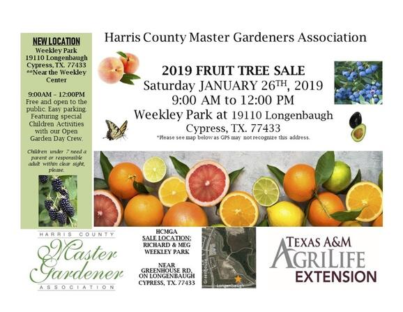Jan 26 Harris County Master Gardner Annual Fruit Tree Sale