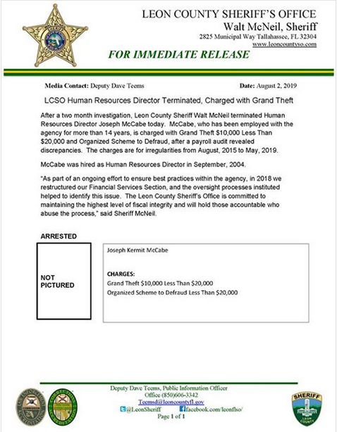 LCSO Human Resource Director Terminated, Charged With Grand