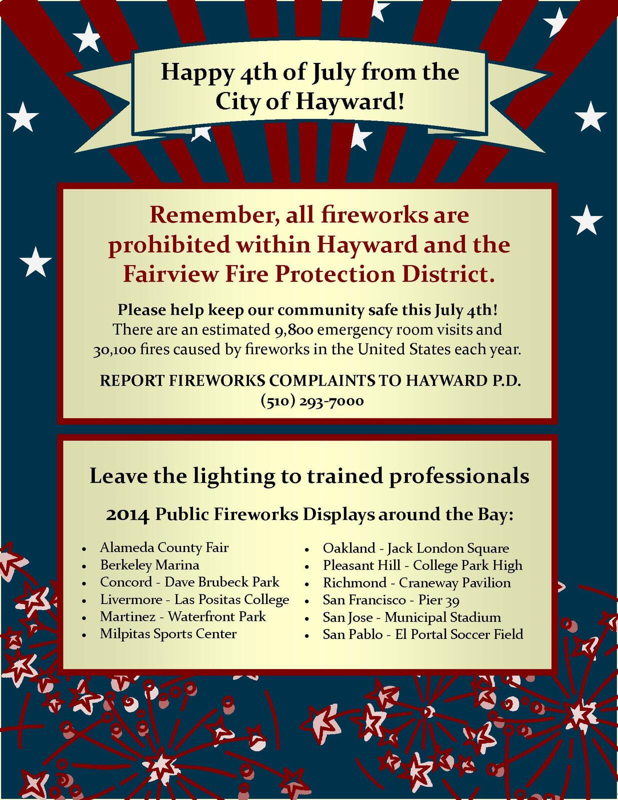 ATTENTION! ALL FIREWORKS ARE PROHIBITED IN HAYWARD (Hayward