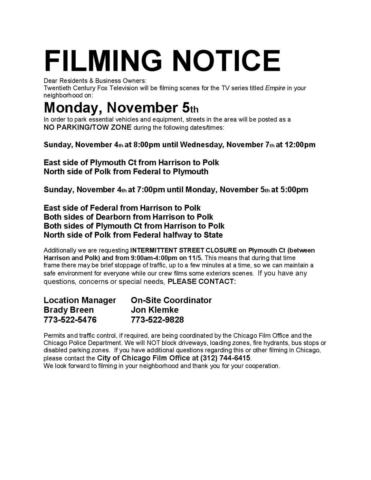 Filming Notice - Nov 5 (Chicago City Council) &mdash