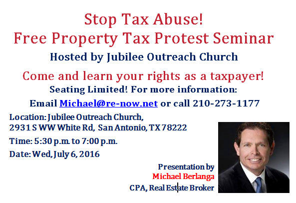 Jul 6 · Property Tax Protest - Free Seminar by CPA Michael Berlanga
