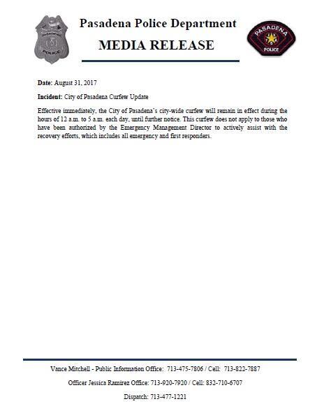 Pasadena Curfew Update (Pasadena Police Department)   Nextdoor