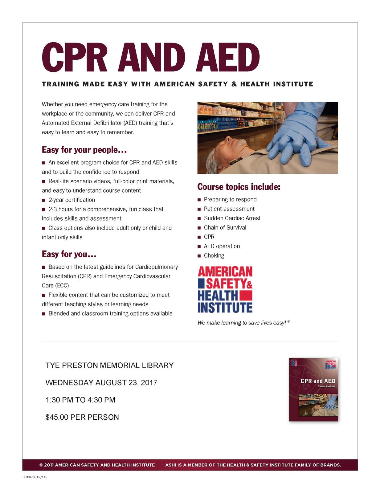 Basic First Aid And Cpr Aed Classes For The Public Canyon Lake