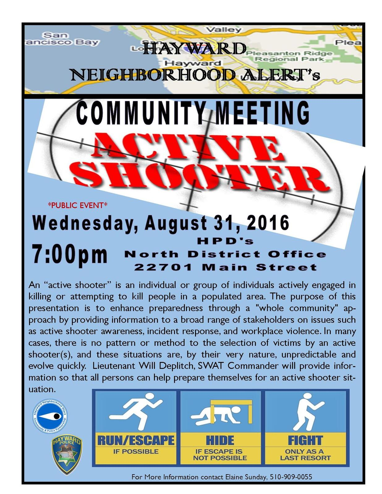 Hayward Neighborhood Alert's Community Meeting - Lt  Will