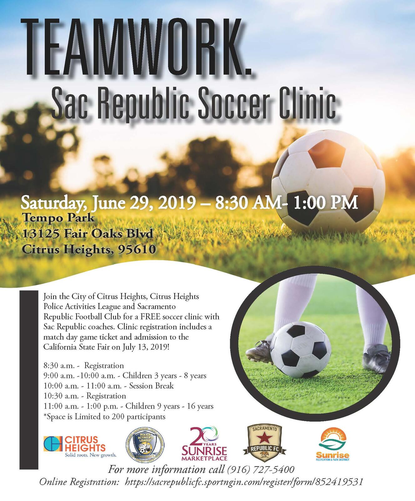 Sac Republic Soccer Clinic! (City of Citrus Heights) &mdash